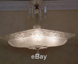 130b Vintage antique Ceiling Light Lamp Fixture Glass Shade Chandelier 1 of 2