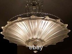167 Vintage antique Ceiling Light Lamp Fixture glass shade Chandelier