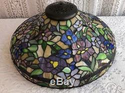 18 1/2 Vintage Wisteria Tiffany Style Stained Glass Lamp Shade