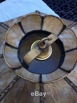 1890 S Vintage Large 21 Slag Glass Amp Brass Chandelier Lamp
