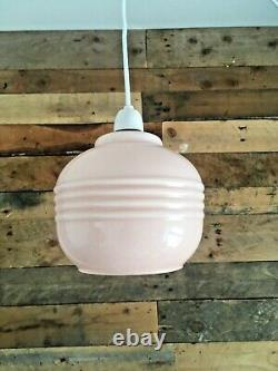 1930s Art Deco Pink Opaline Glass Pendant Light Odeon Ceiling Lamp Shade Vintage