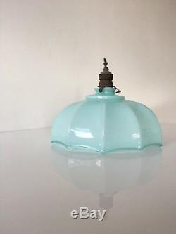 1930s Italian Art Deco Opaline Blue Glass Ceiling Lamp Shade Light Vintage