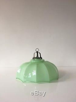 1930s Italian Art Deco Opaline Green Glass Ceiling Lamp Shade Light Vintage