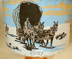 1950s vtg COWBOY LAMP Western Wagon Fiberglass Shade BRADLEY MFG Mid-Century Mod