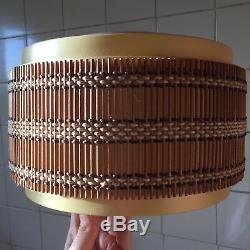 1960s / 1970s Retro Ceiling Light / Lampshade. (Bamboo & plastic)