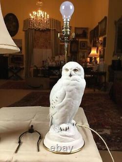 1987 Porcelain Franklin Mint Snowy Owl Table Lamp 19