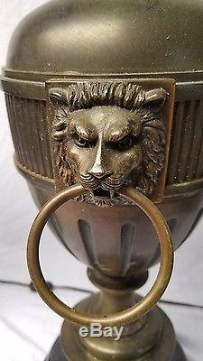 (2) 38 brass table lamps, vintage Stiffel, flame lion heads Glass Shades