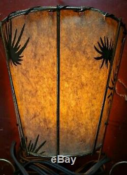 2 Mid Century Vintage Fiberglass Table or Wall Lamps Shades Gold Starburst MCM