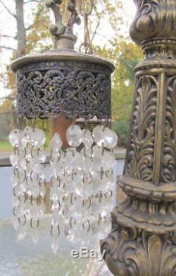 2 Ornate Vintage Hollywood Regency Peacock Blue Velvet Shades Candelabra Lamps
