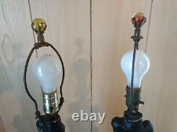 2 Vintage Chalkware Table Lamps withShades Mid Century Oriental/Asian Man & Woman