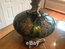 2 Vintage Green Gold Flashed Glass Falkenstein Table Lamps