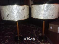 2 Vintage MID Century Modern Table Lamps. Teak W Orig Fiber Shades