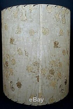(2) Vintage Mid Century Modern Woven Edge Gold Tone Roses Opaque Dot Lamp Shades