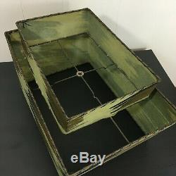 2 tier GREEN rectangle fiberglass vintage lamp shade mid century atomic