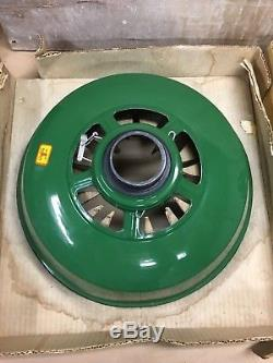3 Large NOS Vintage Green White Porcelain Industrial Lamp Light Shades 18 INCHES