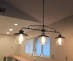 3light Vintage Pendant Clear Glass Lamp Shades Hanging Dining