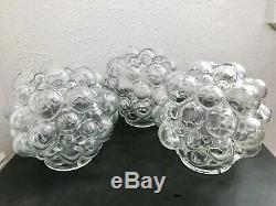 3 VTG Mid Century Modern Helena Tynell Style Bubble Glass Light Lamp Shades