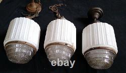 3 Vintage Art Deco Milk Clear Holophane Glass Skyscraper Pendant Light Fixtures
