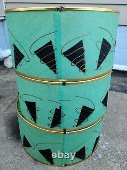(3) Vintage Mid Century Modern Brass On Black Lamps Turquoise Fiberglass Shades