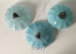 3 x 1930s Italian Art Deco Opaline Blue Glass Ceiling Lamp Shade Light Vintage