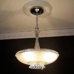 335 Vintage Antique 40's Ceiling Lamp Fixture Glass Shade Chandelier 3 Lights