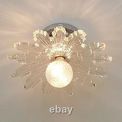 367b Vintage Antique arT Deco Starburst Ceiling Light Glass Shade Lamp fixture