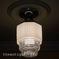375 Vintage Antique Ceiling Light Glass Shade Lamp Skyscraper Bath Hall