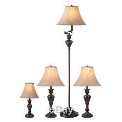 4 Piece Aged Bronze Lamp Set With Fabric Shades Table Desk