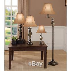 4-piece Aged Bronze Lamp Set With Fabric Shades Table Desk Floor ...