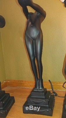 (4) Vintage Style Art Deco Nude Figural Lady Table Lamps With Glass Globe Shade
