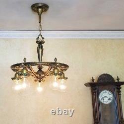 489 Vintage Art Nouveau Shade Ceiling Light Lamp Fixture Chandelier antique