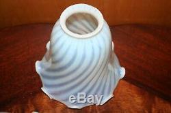 5 Vintage Fenton Opalescent Lamp Shades Twist Pattern Hand Blown Art Glass