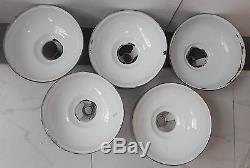 5 vintage green colour porcelain enameled tin lamp shade x1028 mozeypictures Images