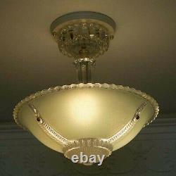 603 Vintage antique arT Deco Glass Shade Ceiling Light Lamp Jadeite Chandelier