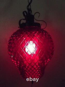 60s vintage gypsy gothic swag lamp, black iron, red stain glass shade