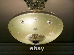 670 Vintage antique aRT Deco Ceiling Glass Shade Light Lamp Fixture nautical