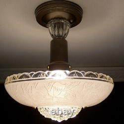 699 Vintage antique aRT DEco Ceiling Light Lamp Fixture Glass Shade Chandelier