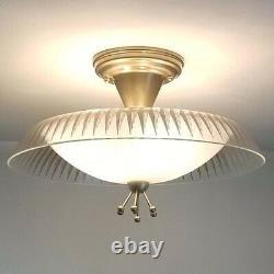 736b Vintage 50 60's Ceiling Light glass shade lamp Fixture MCM retro eames
