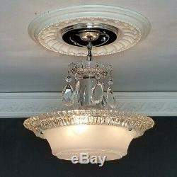 784b Vintage antique arT Deco Glass Shade Ceiling Light Lamp Fixture Chandelier