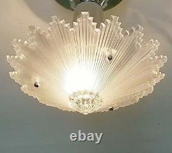 790z Vintage antique arT Deco Ceiling Light Glass shade Lamp Fixture Glass