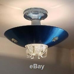 792b Vintage Mid-Century Ceiling Light shade Lamp Fixture Glass bath hall eames