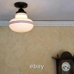 799 Vintage antique aRT Deco Ceiling Light Glass Shade Lamp Fixture bath hall