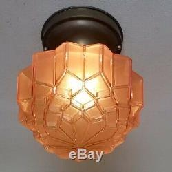 838b Vintage antique aRT Deco Glass Shade Ceiling Light Lamp Fixture porch