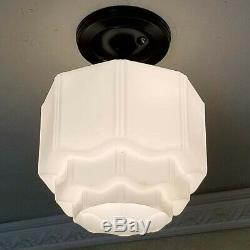 843b Vintage antique 40s Ceiling Light Glass Shade Lamp fixture KITCHEN BATH
