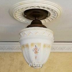 849b Vintage antique Glass Shade Ceiling Light Lamp Fixture hall porch