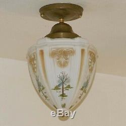 857 Vintage antique Ceiling glass Light Shade Lamp Fixture pendant porch
