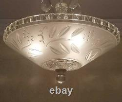 860 Vintage Antique Ceiling Light Lamp Fixture Glass Shade Chandelier 1 of 2