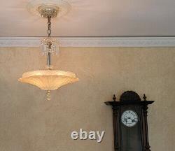 899b Vintage Antique Ceiling Light Glass Shade Lamp Fixture Chandelier SUNFLOWER