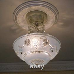 900 Vintage antique arT Deco Glass Shade Ceiling Light Lamp Fixture Chandelier