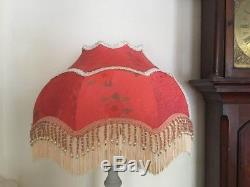 A Victorian style standard lampshade, vintage silk, beaded, fringe, 18 inches